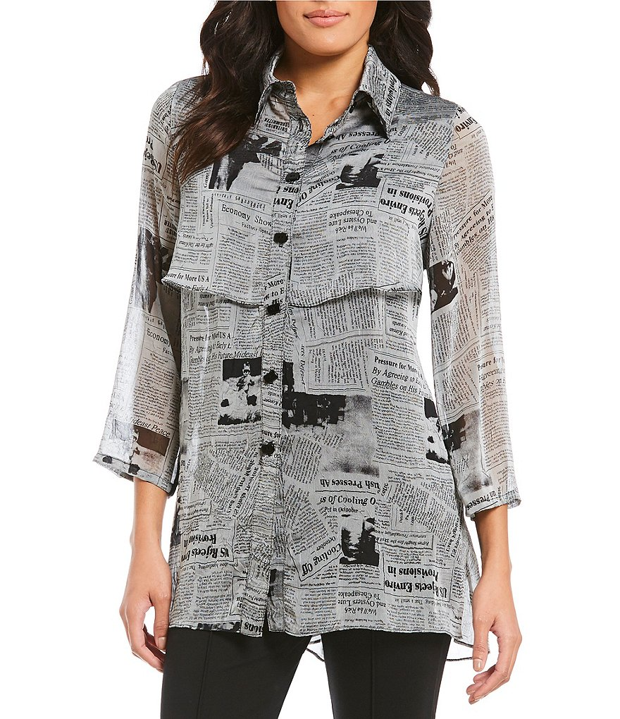 IC Collection Button Front Newspaper Blouse