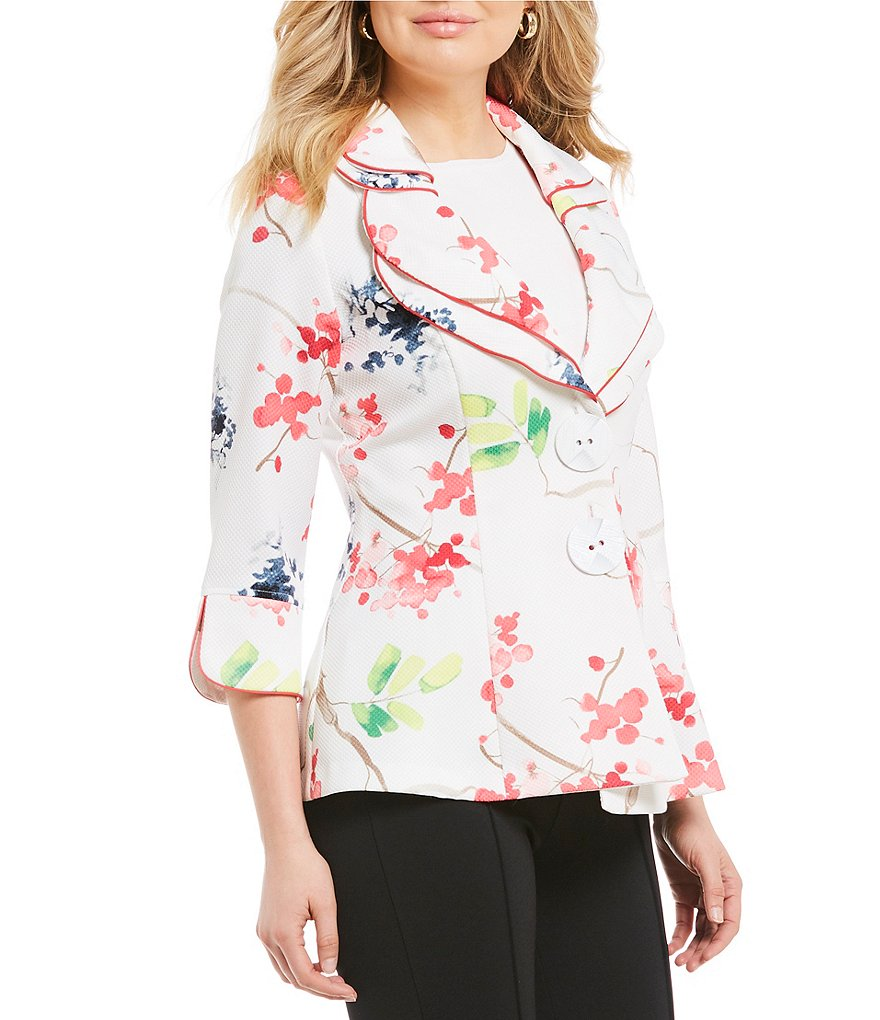 IC Collection Double Collar Flower Print Jacket