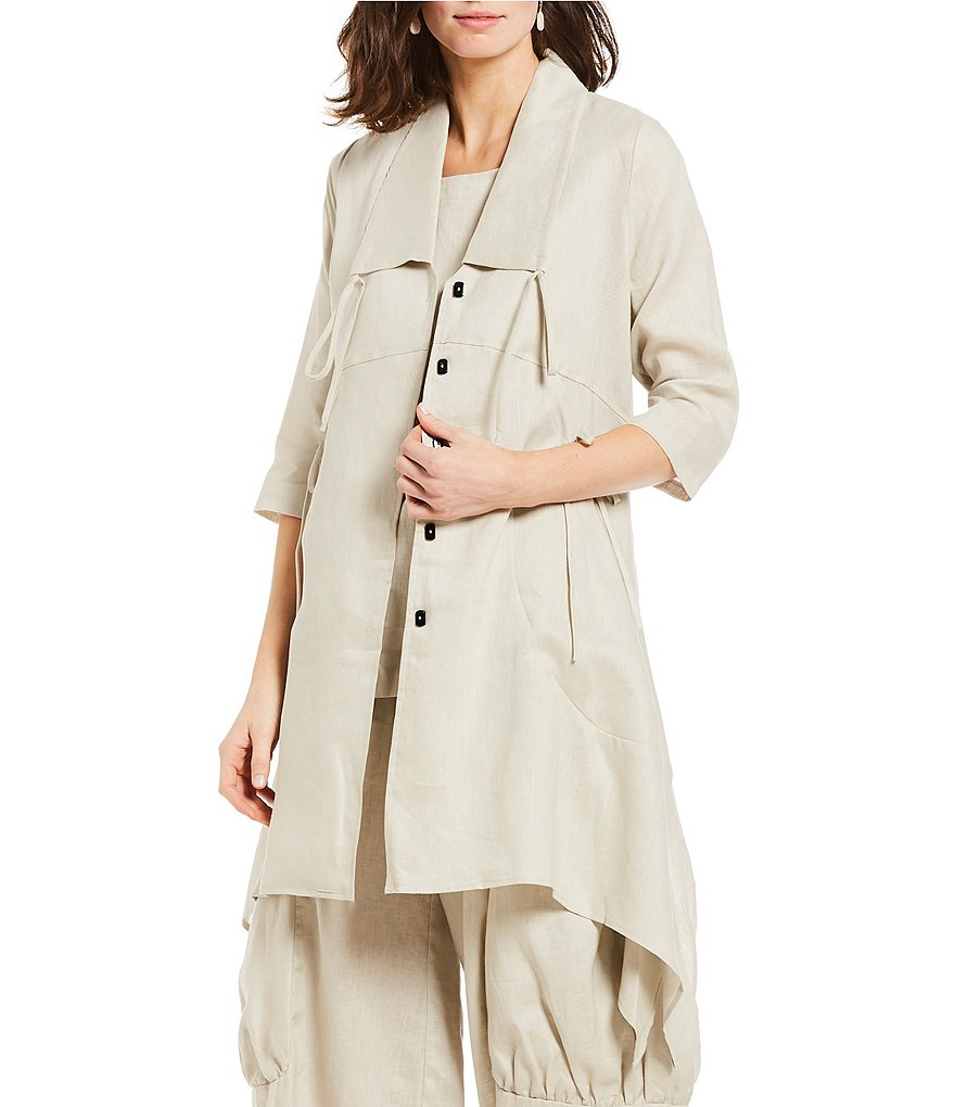 IC Collection Drawstring Collar Long Linen Jacket