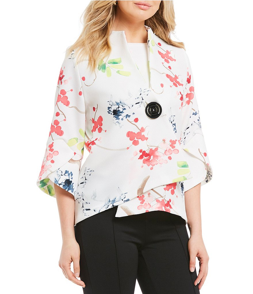 IC Collection Floral Print Asymmetrical Jacket