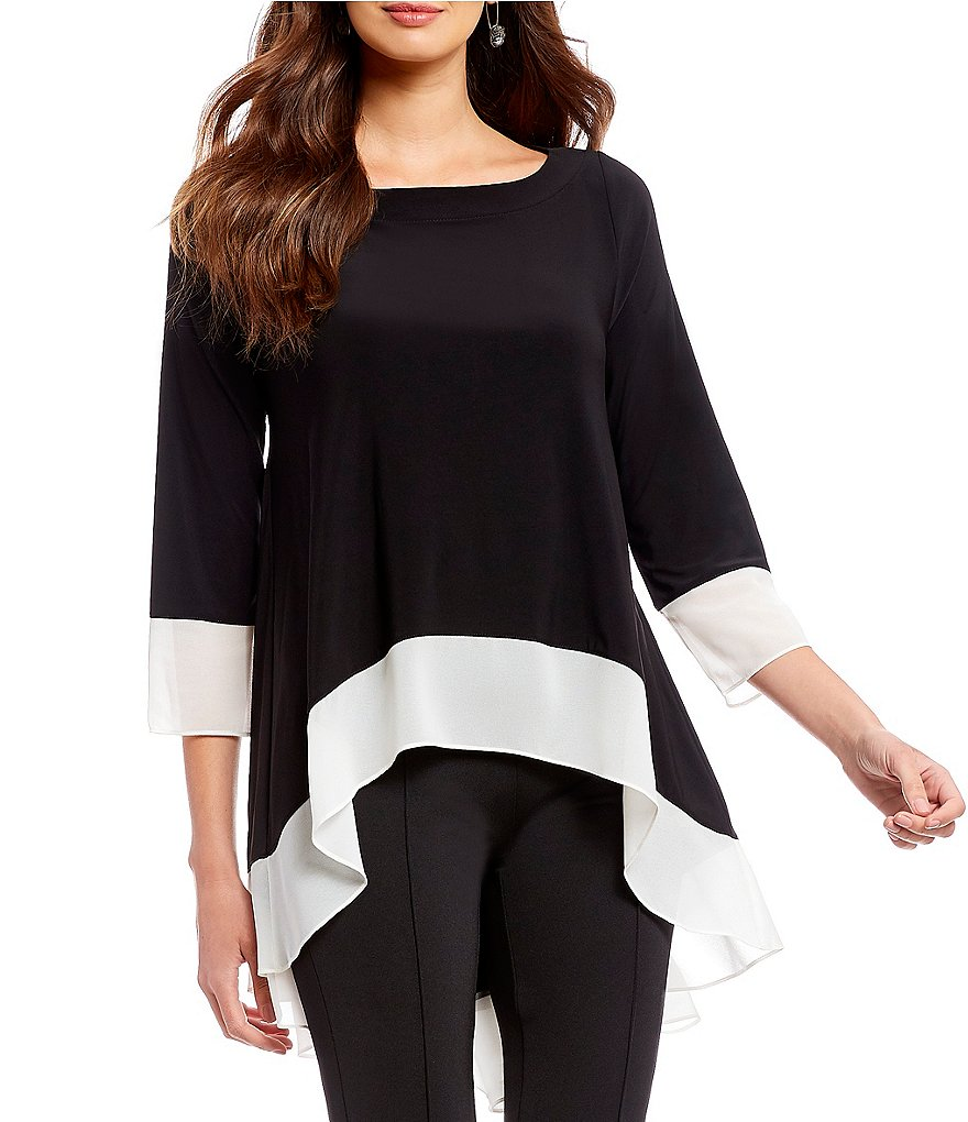 IC Collection Long Tabbed Sleeve Contrast Trim Top