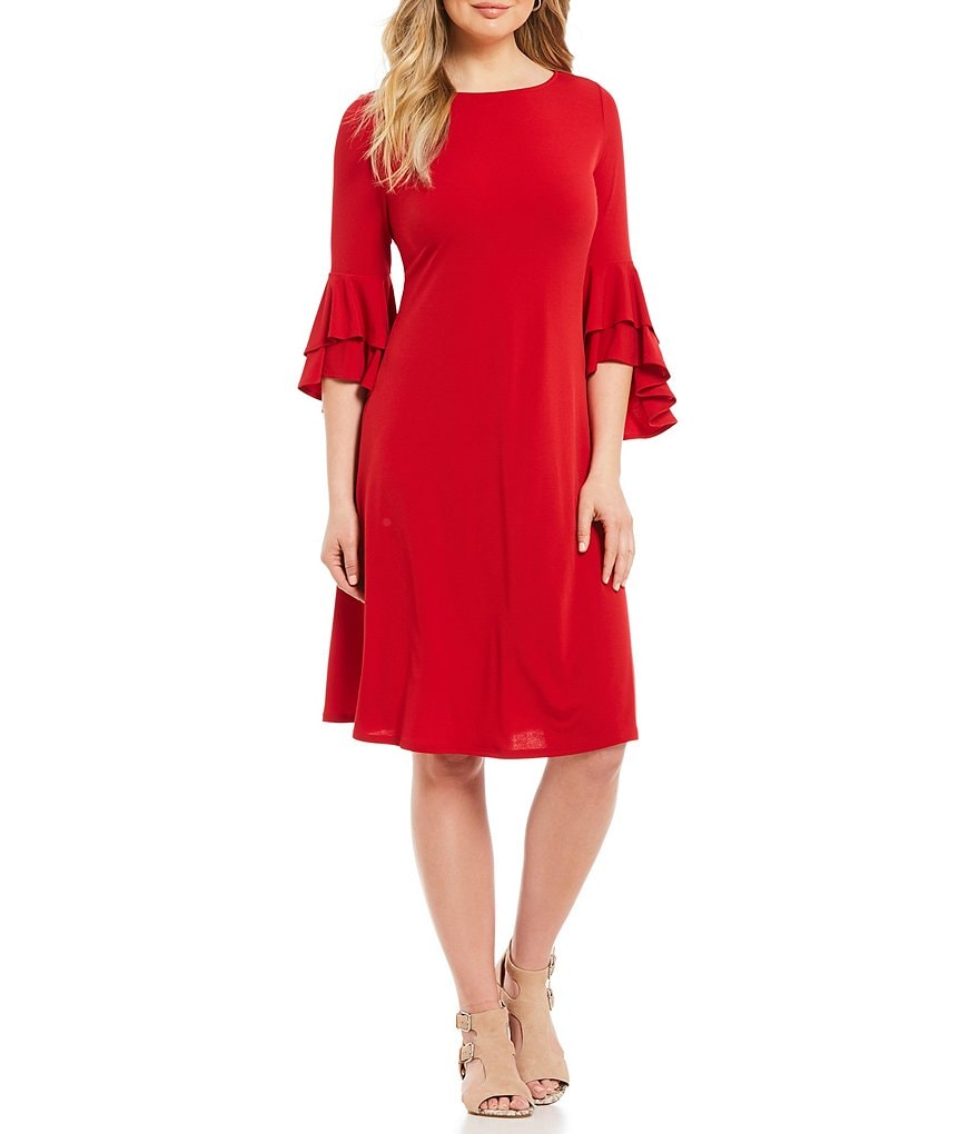 IC Collection Melania Tiered Ruffle Bell Sleeve Dress