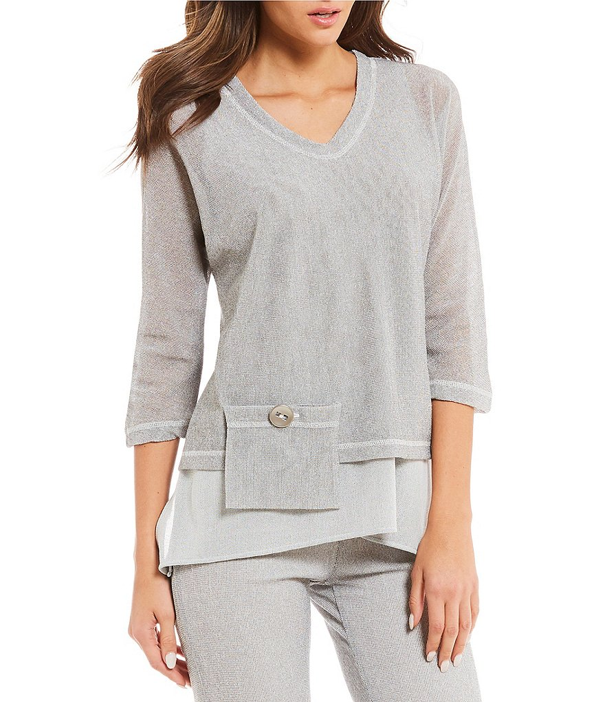 IC Collection Mesh V-Neck Front Pocket Top