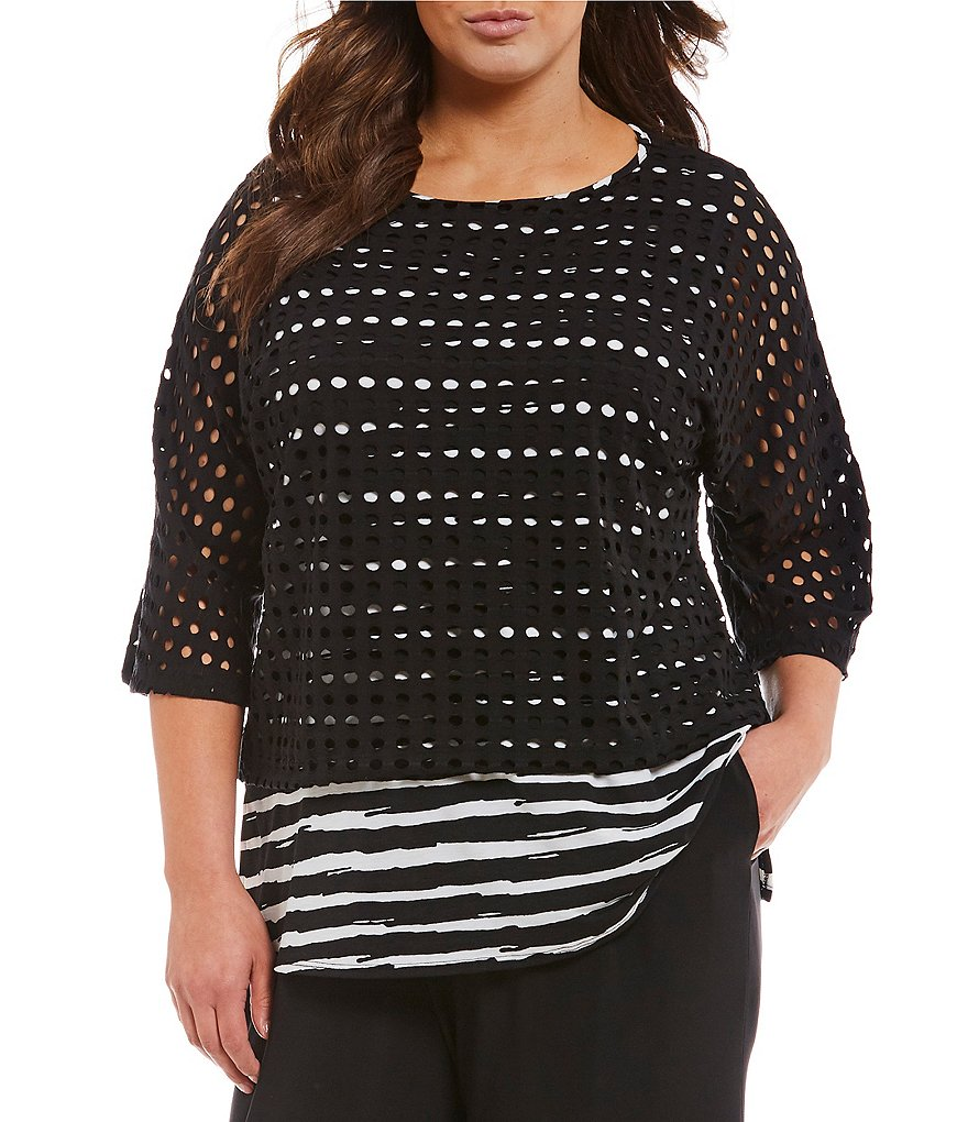 IC Collection Plus 3/4 Sleeve Layered Webb Top