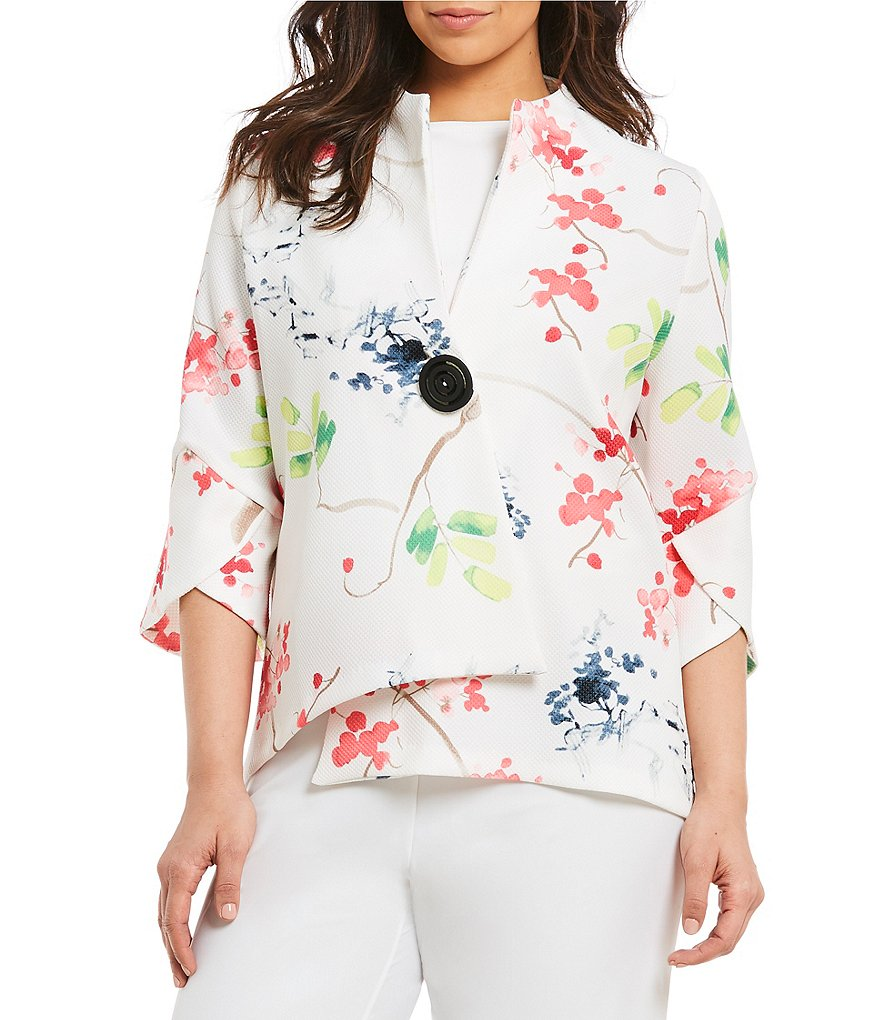 IC Collection Plus Floral Print Asymmetrical Jacket