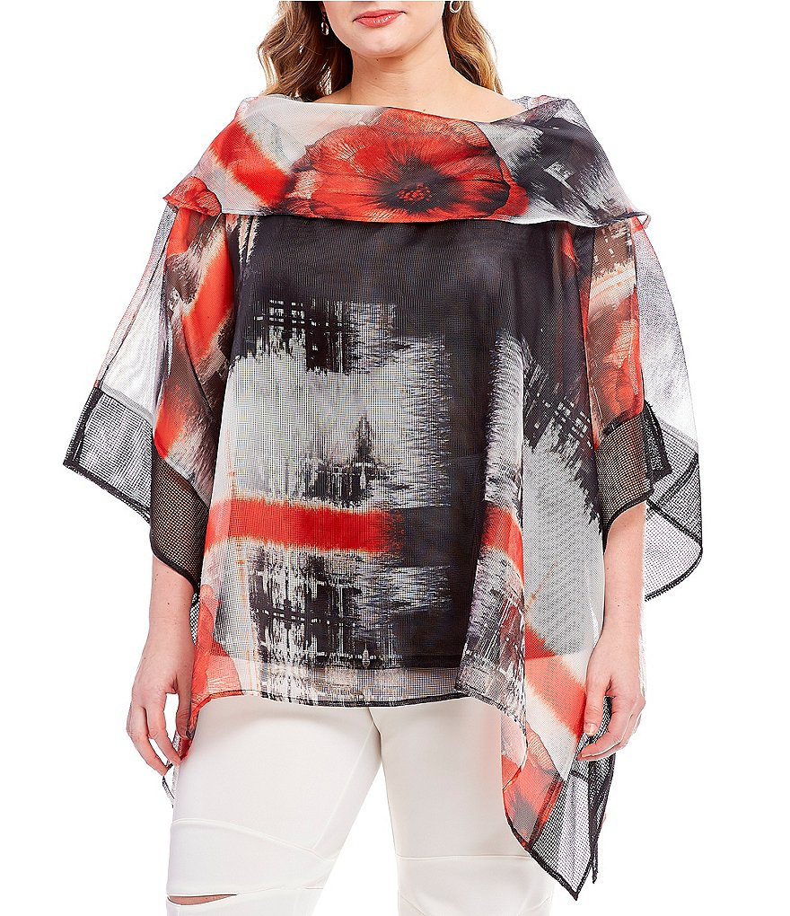 IC Collection Plus Flower Print Mesh Poncho Top