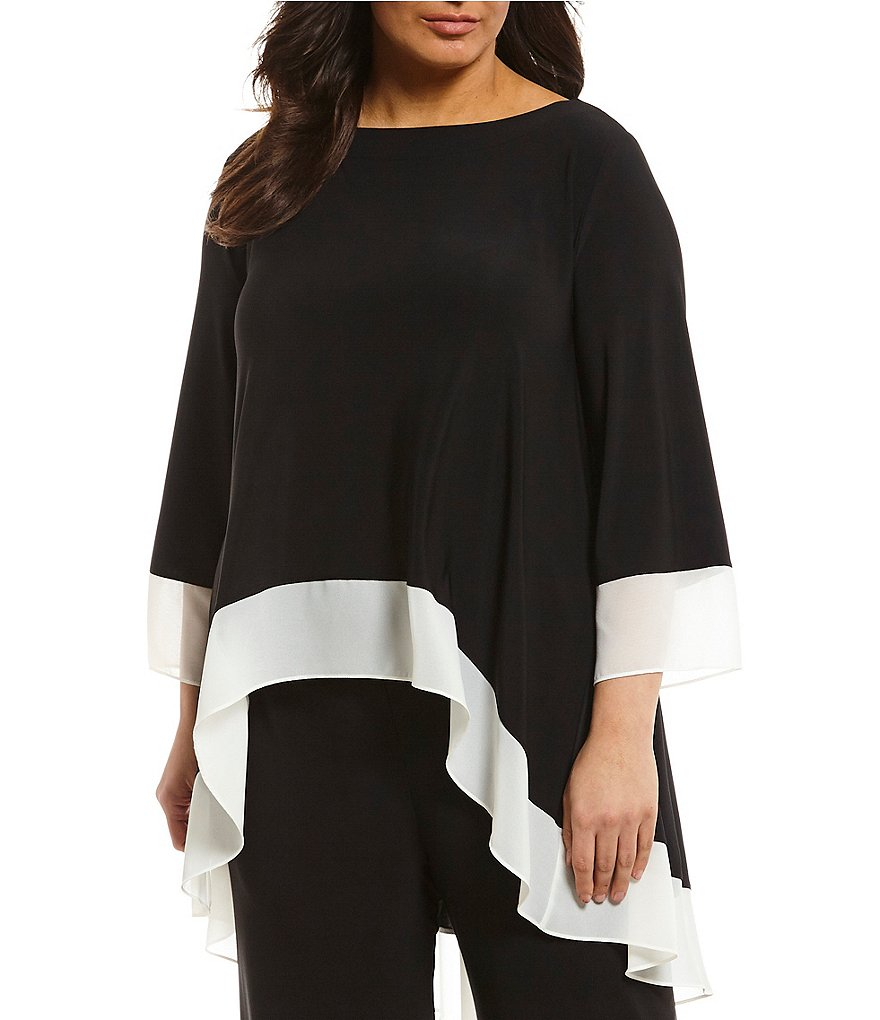 IC Collection Plus Long Tabbed Sleeve Contrast Trim Top