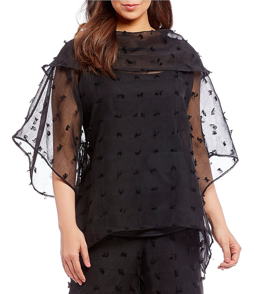 IC Collection Plus Sheer Eyelash Fabric Cowl Neck Flutter Bell Sleeve Top