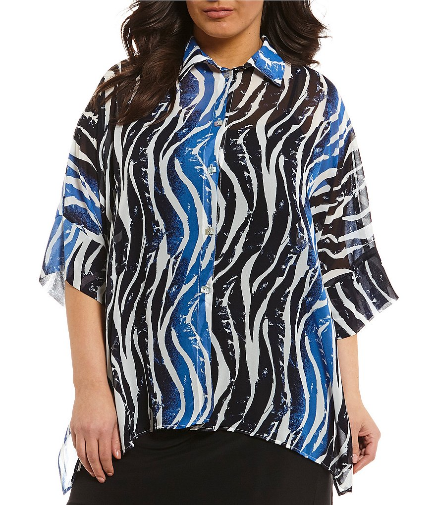 IC Collection Plus Tiger Print Button Front Blouse