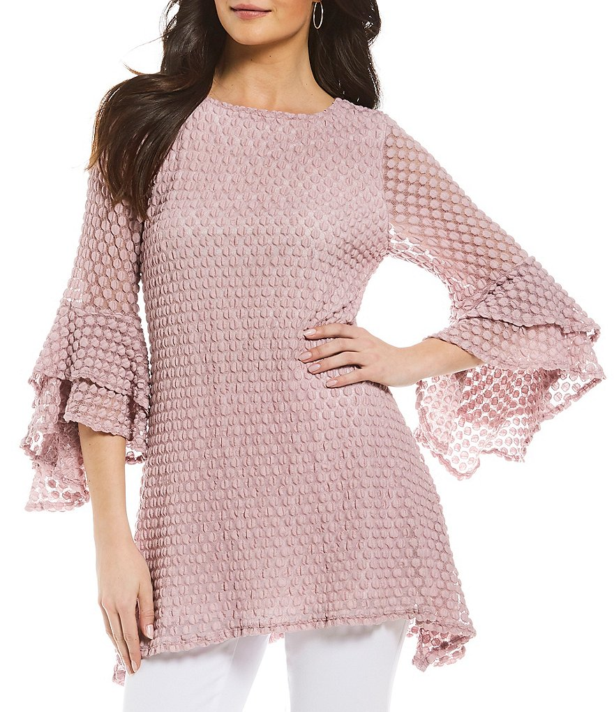 IC Collection Popcorn Bell Sleeve Lace Top