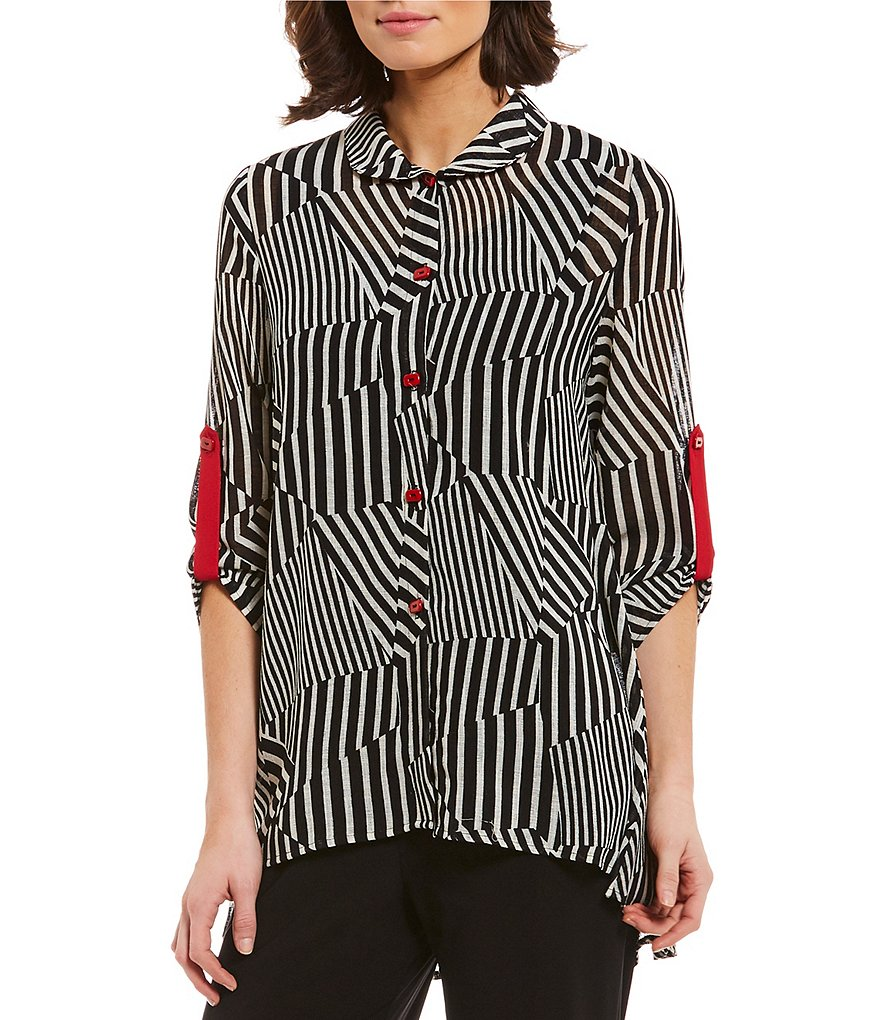 IC Collection Roll-Tab Sleeve Button Front Zipper Back Striped Shirt