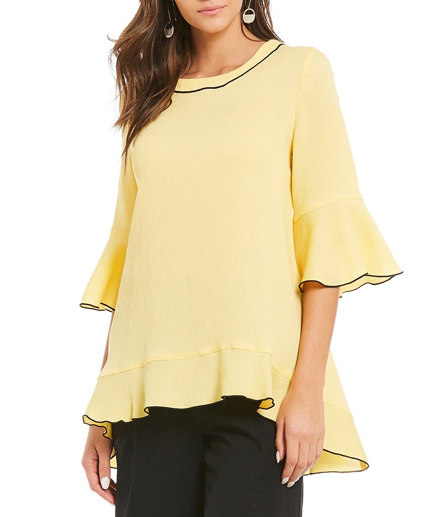 IC Collection Ruffle 3/4 Sleeve Tunic