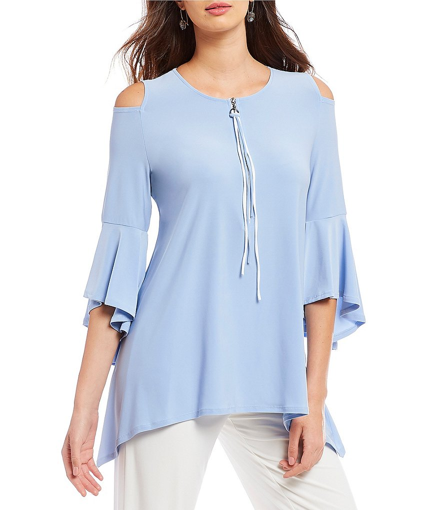 IC Collection Ruffle Sleeve Cold-Shoulder Zip Front Top