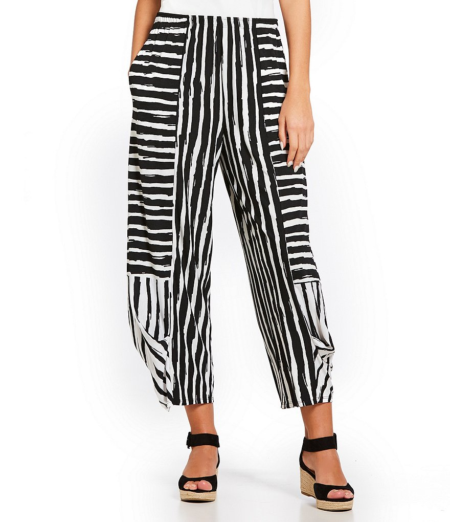 IC Collection Stripe Tapered Crop Ankle Pants
