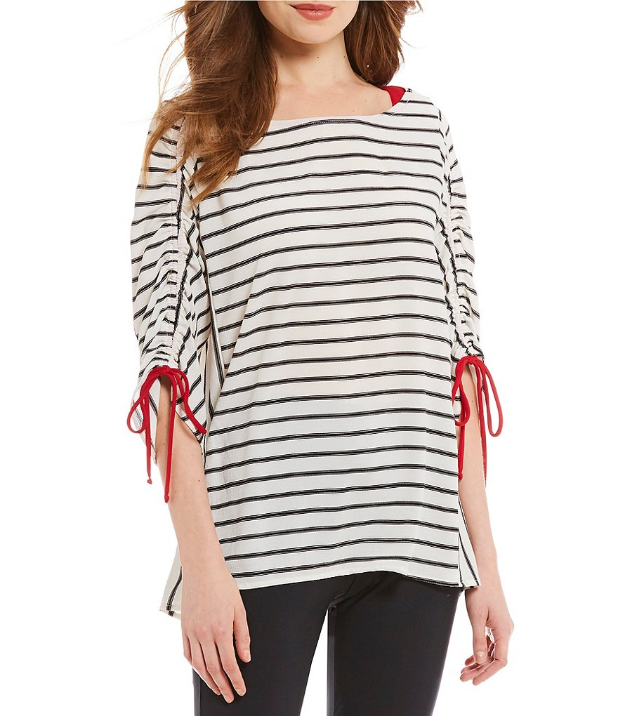 IC Collection Tie Sleeve Striped Top