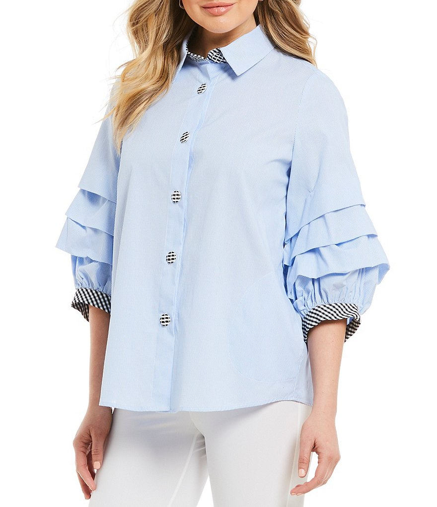 IC Collection Tiered Ruffle Sleeve Striped Button Front Gingham Trim Novelty Shirting Blouse