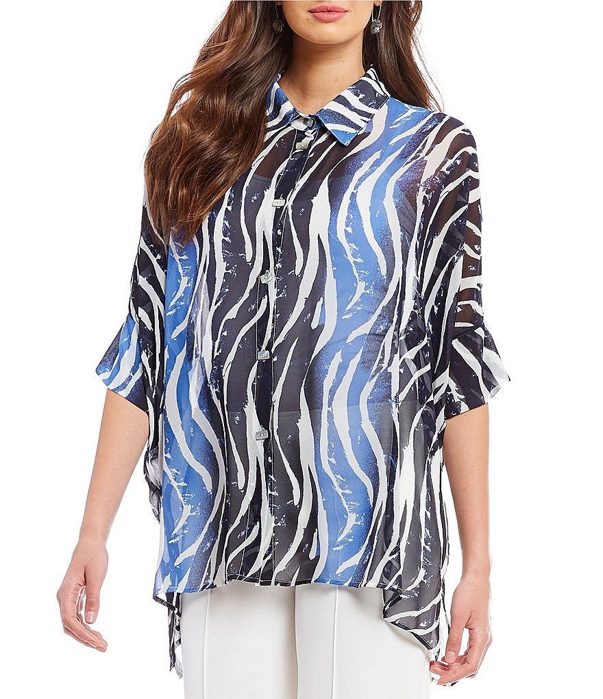 IC Collection Tiger Print Button Front Blouse
