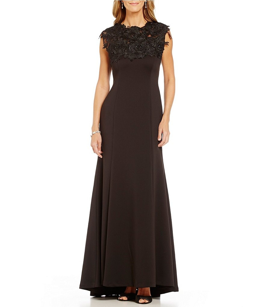 Ignite Evenings Beaded Applique Mock Neck Sleeveless A-Line Gown