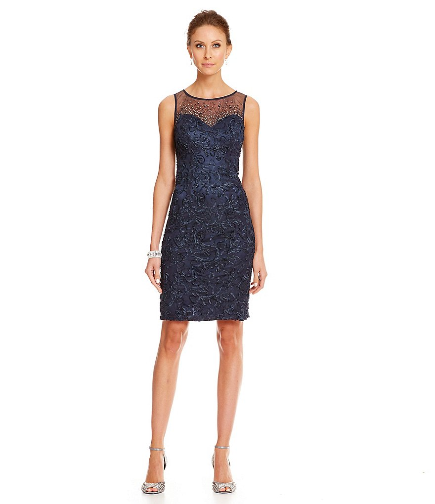 Ignite Evenings Illusion Soutache Sheath Dress