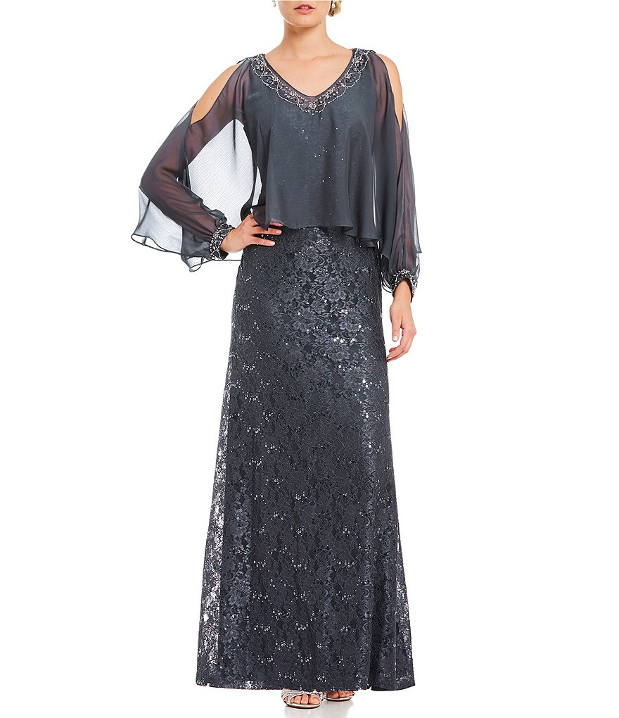 Ignite Evenings Lace Cold Shoulder Cape Gown