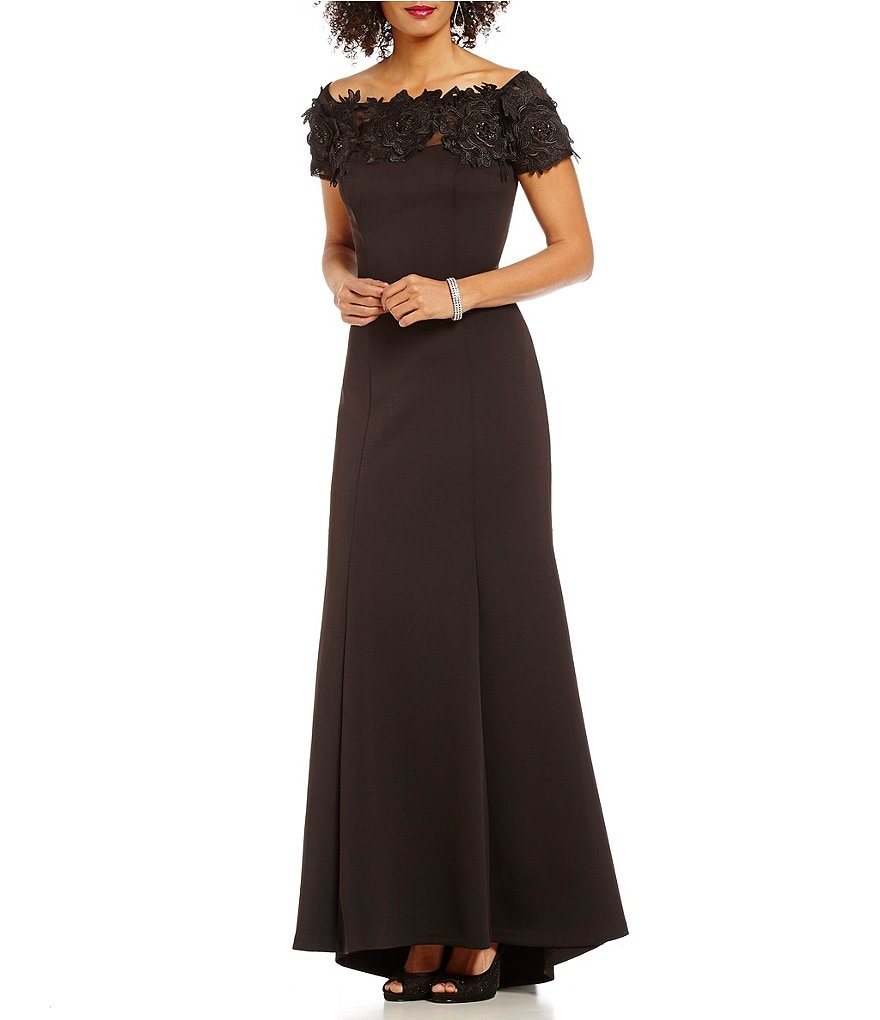 Ignite Evenings Lace Off-The-Shoulder Gown