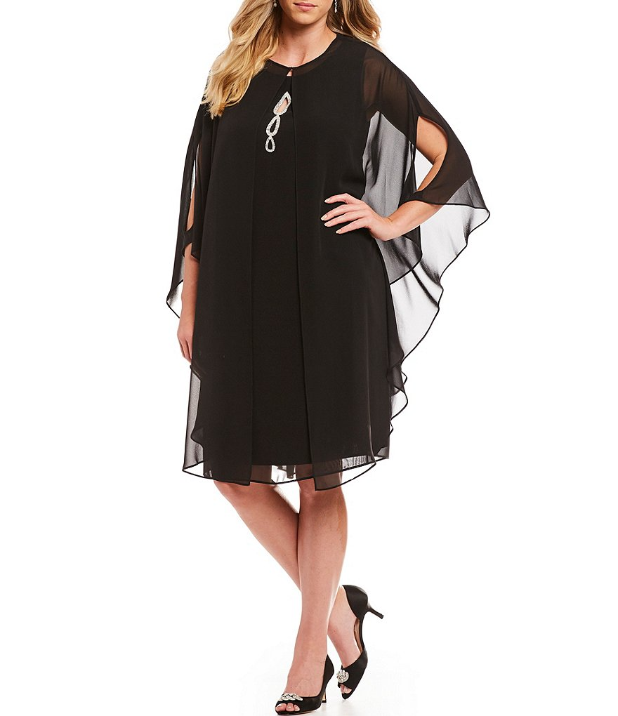 Ignite Evenings Plus Beaded Keyhole Neck Capelet Dress