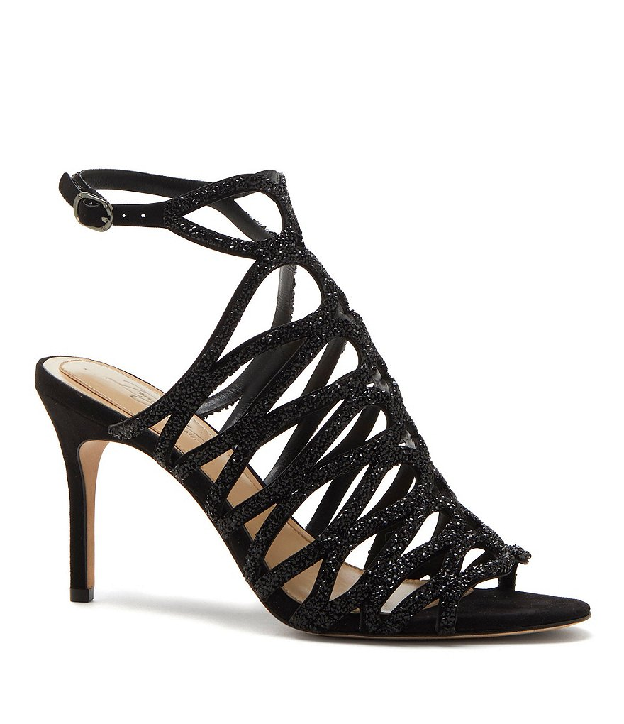 Imagine Vince Camuto Plash Caged Beaded Suede Dress Sandals