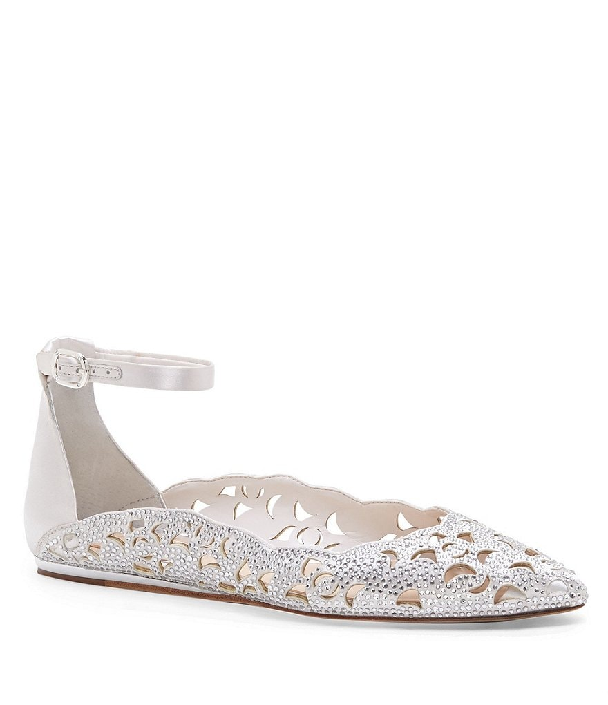 Imagine Vince Camuto Garyn Satin Rhinestone Embellished Ankle Strap Flats
