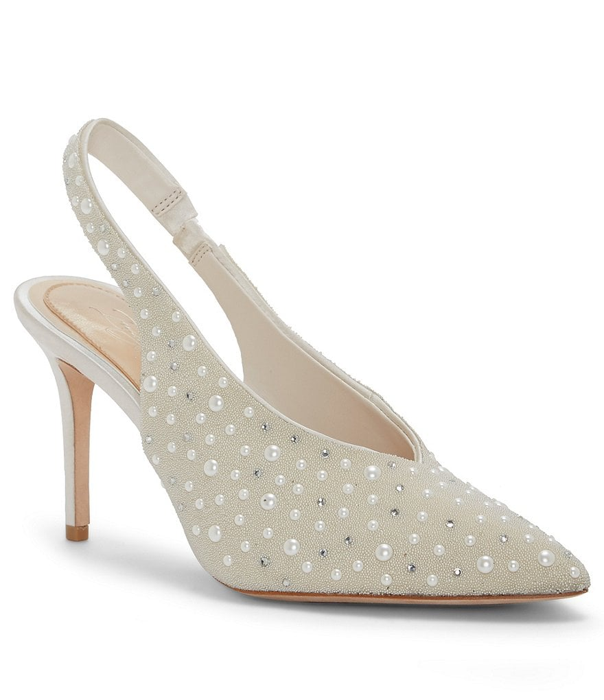 Imagine Vince Camuto Mayran Satin Pearl Beaded Slingback Pumps