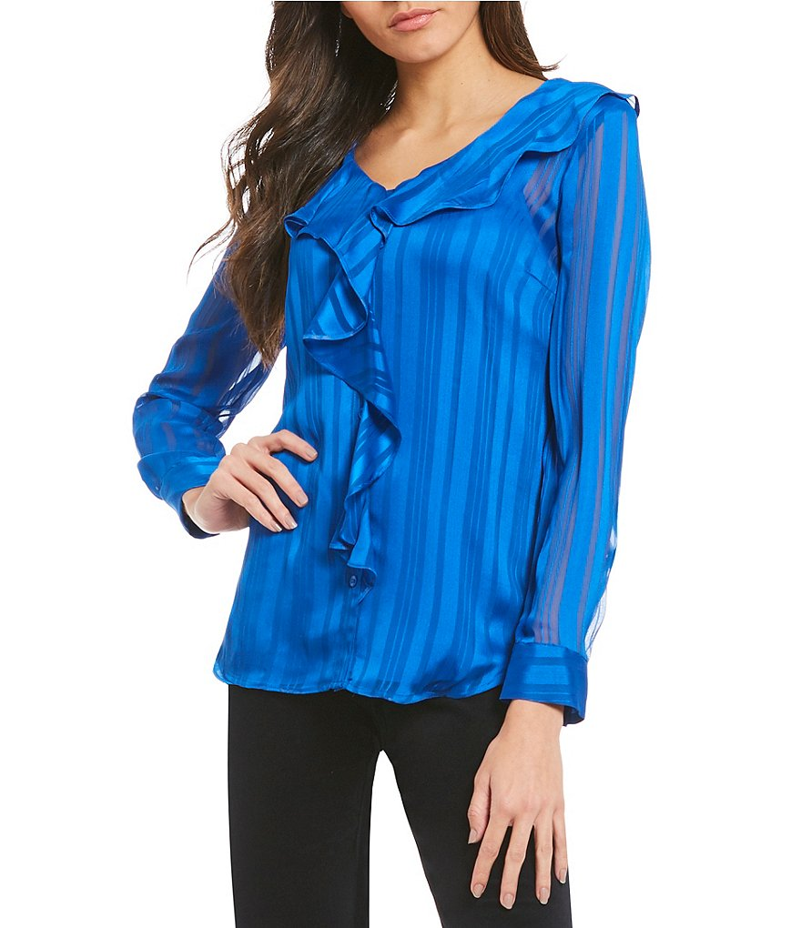 IMNYC Isaac Mizrahi V-Neck Ruffle Long Sleeve Blouse
