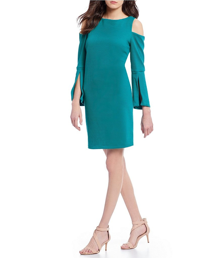 IMNYC Isaac Mizrahi Bateau Neck Cold Shoulder Slit Bell Sleeve Shift Dress