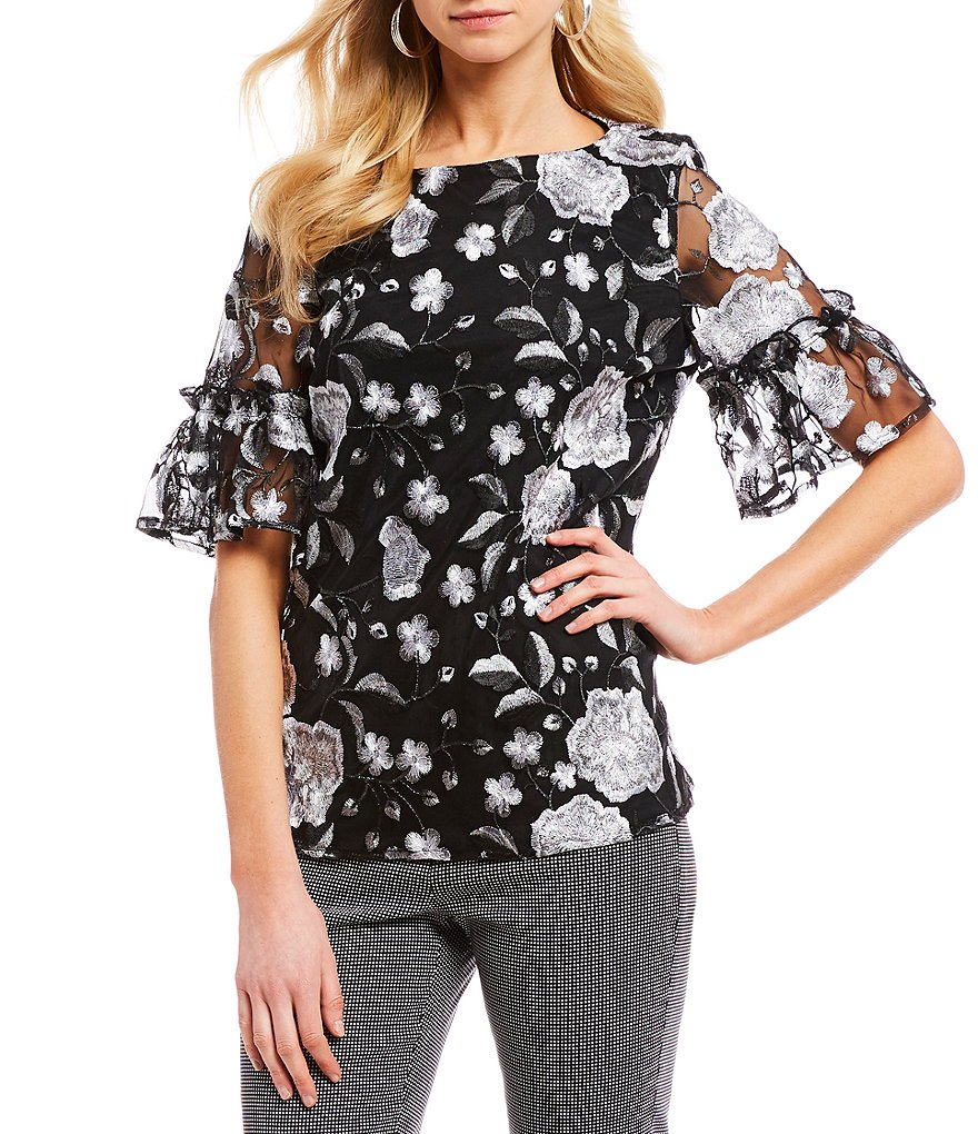 IMNYC Isaac Mizrahi Floral Embroidered Ruffle Bell Sleeve Blouse