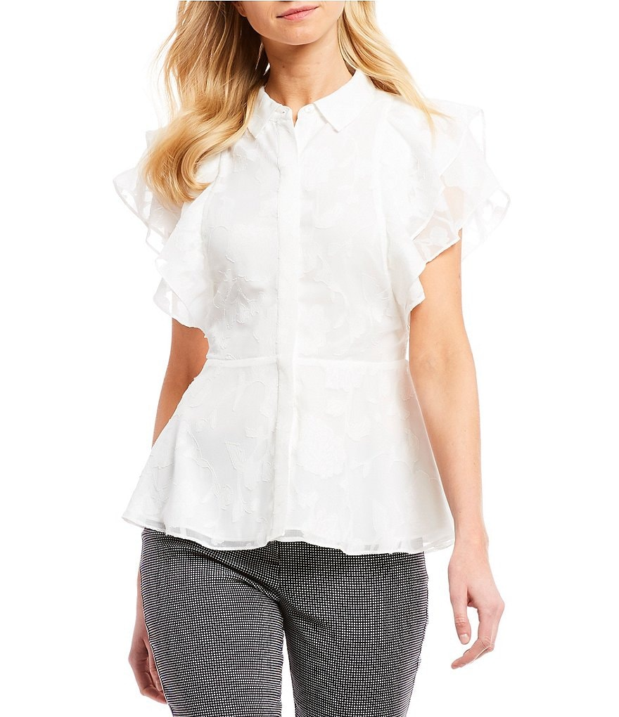 IMNYC Isaac Mizrahi Button Up Ruffle Sleeve Peplum Shirt