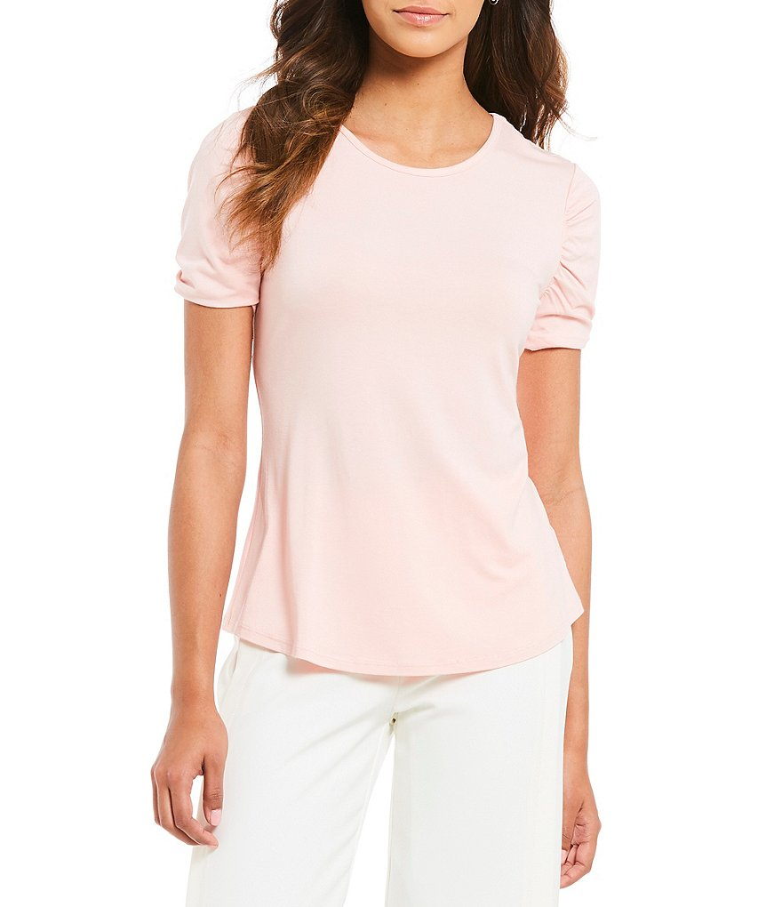 IMNYC Isaac Mizrahi Crew Neck Shirred Short Sleeve Top