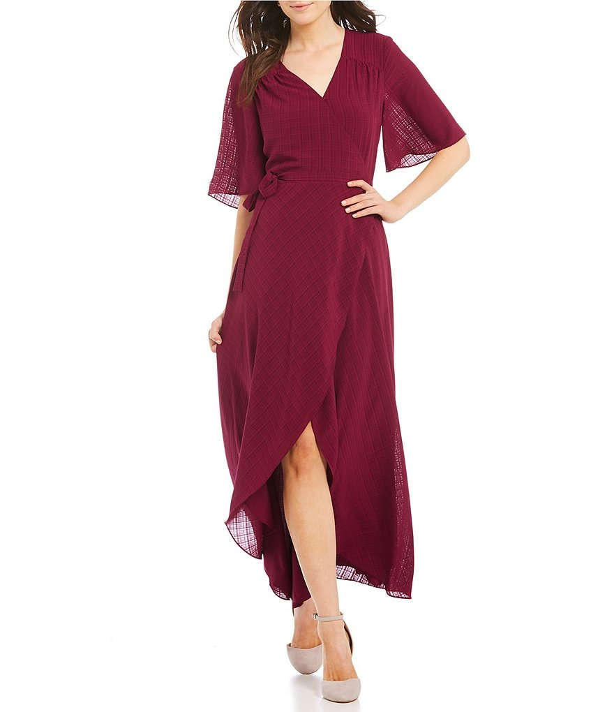 IMNYC Isaac Mizrahi Flutter Sleeve Maxi Wrap Dress | Dillards
