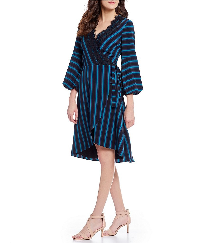 IMNYC Isaac Mizrahi Gathered Puff Sleeve Lace Trim Wrap Dress