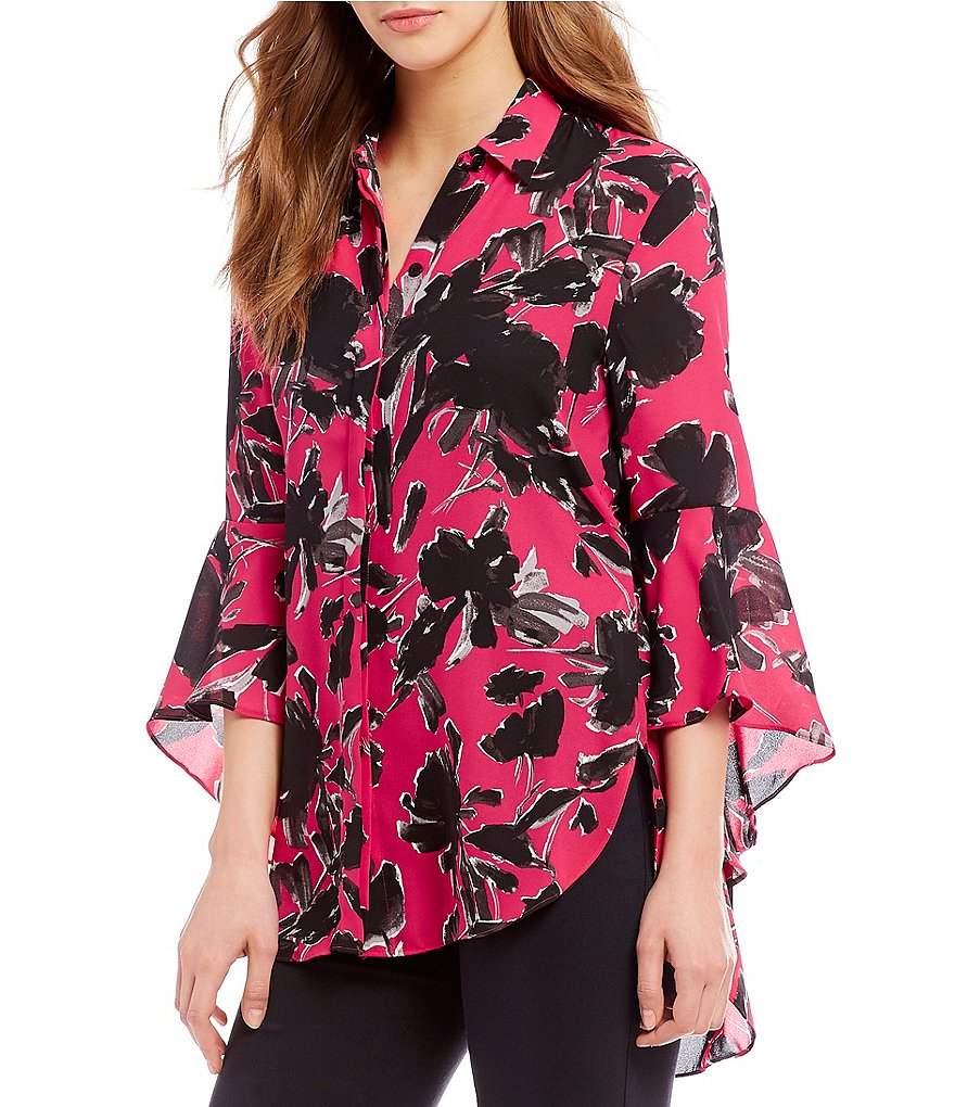 IMNYC Isaac Mizrahi Peplum Hi-Low Bell Sleeve Button Up Tunic