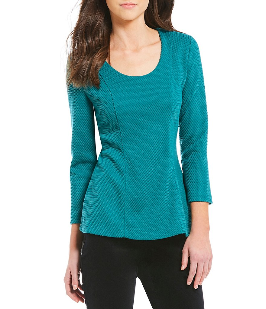 IMNYC Isaac Mizrahi Scoop Neck 3/4 Sleeve Hi-Lo Top