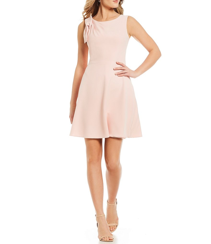 IMNYC Isaac Mizrahi Side Bow Bateau Fit & Flare Dress