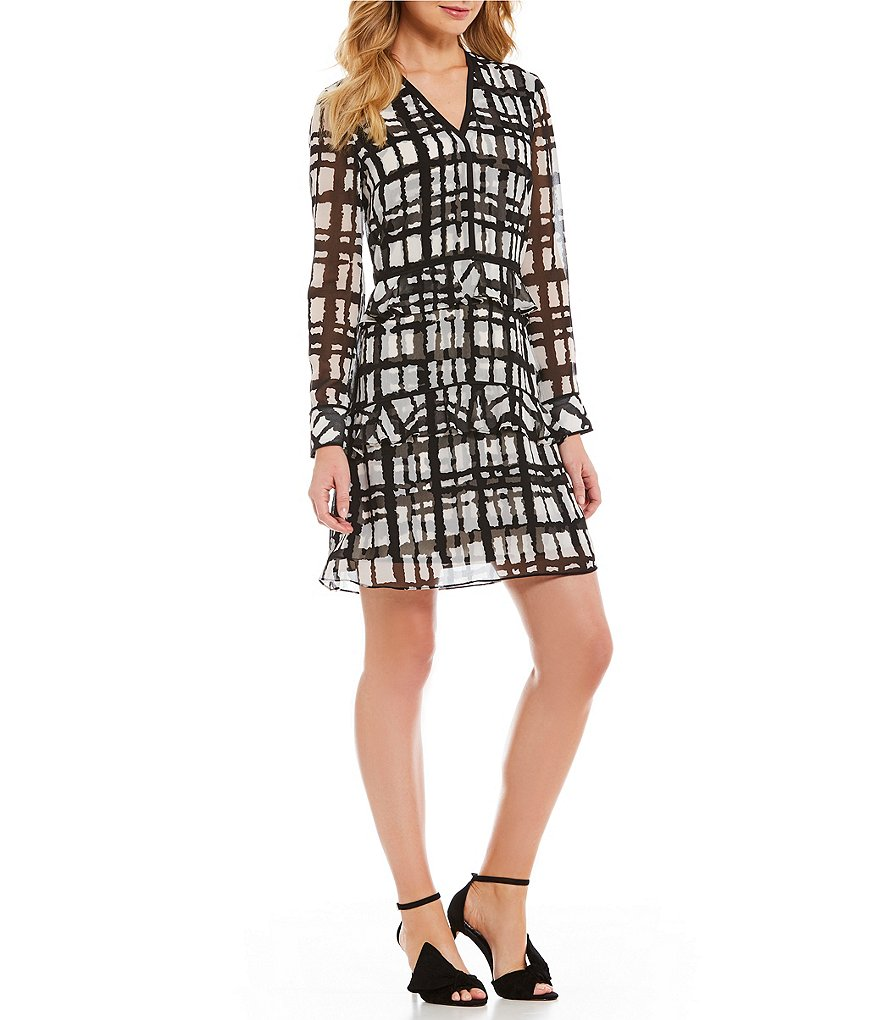 IMNYC Isaac Mizrahi Tiered Ruffle Long Sleeve Dress