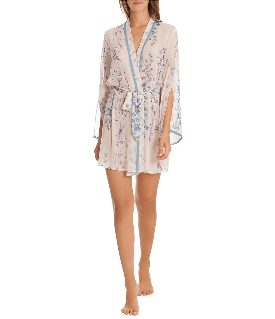 In Bloom by Jonquil Floral-Print Chiffon Wrap Robe