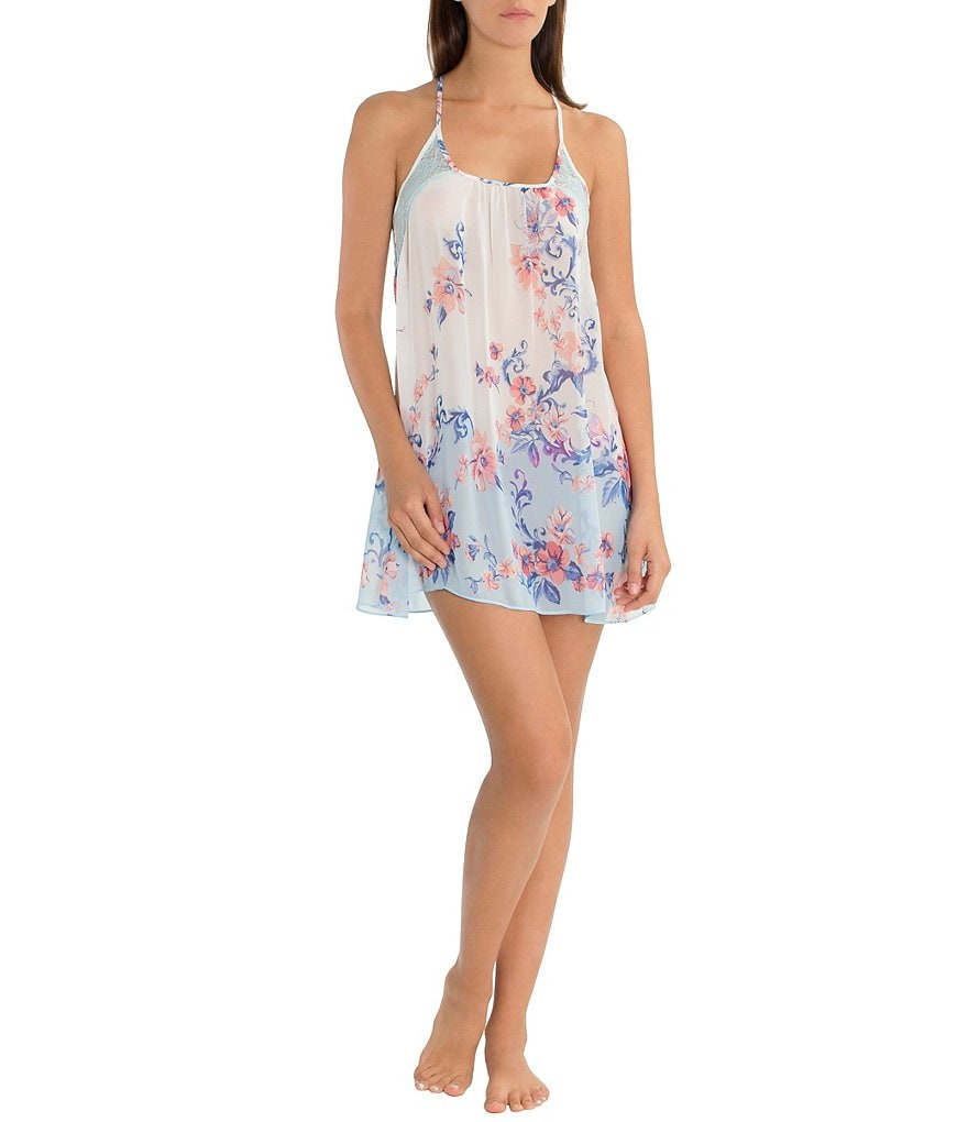 In Bloom by Jonquil Porcelain Rose Printed Chiffon Racerback Chemise