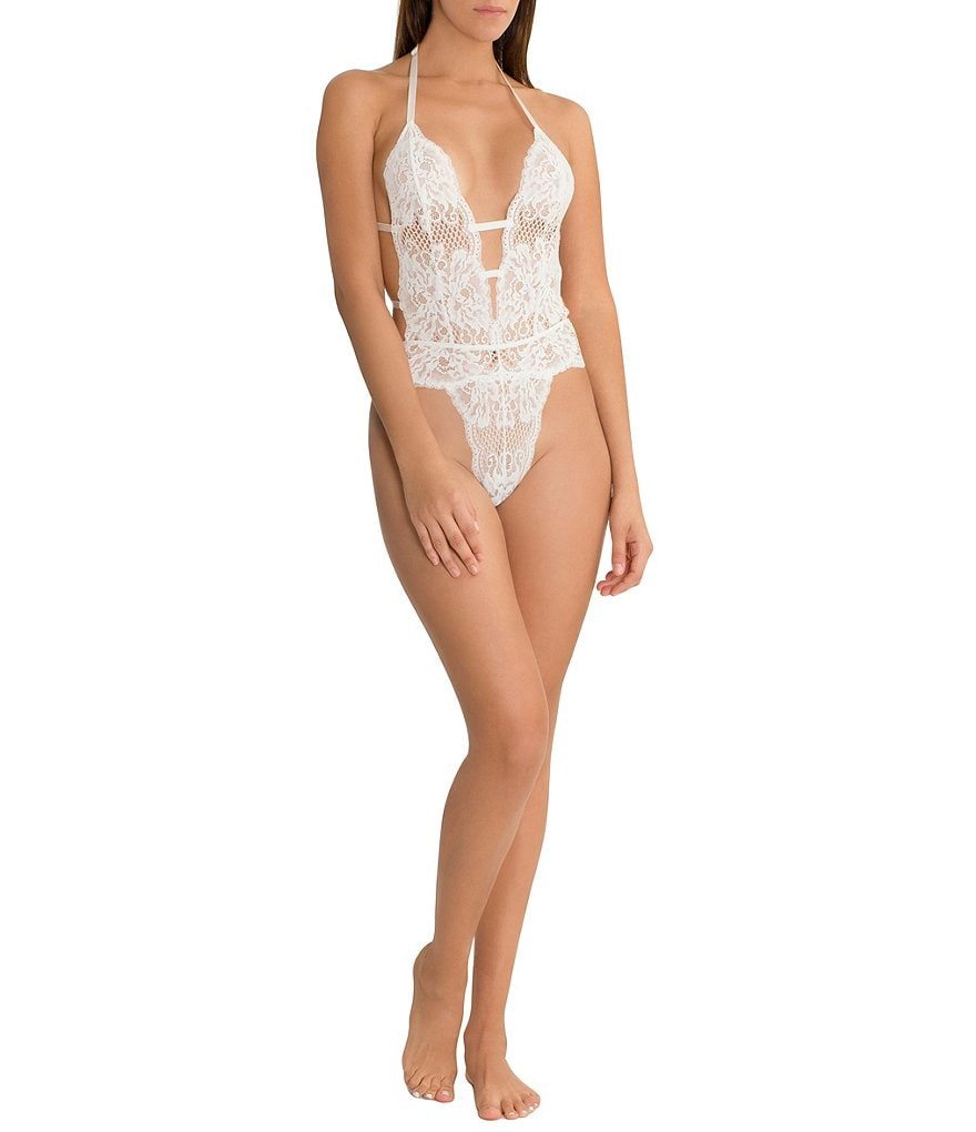 In Bloom by Jonquil Roseanne Allover Lace Halter Teddy