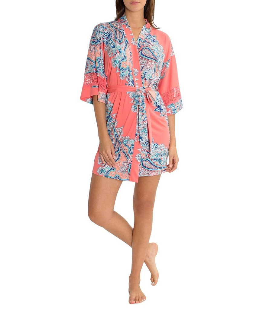 In Bloom by Jonquil Tangerine Dream Paisley-Print Wrap Robe