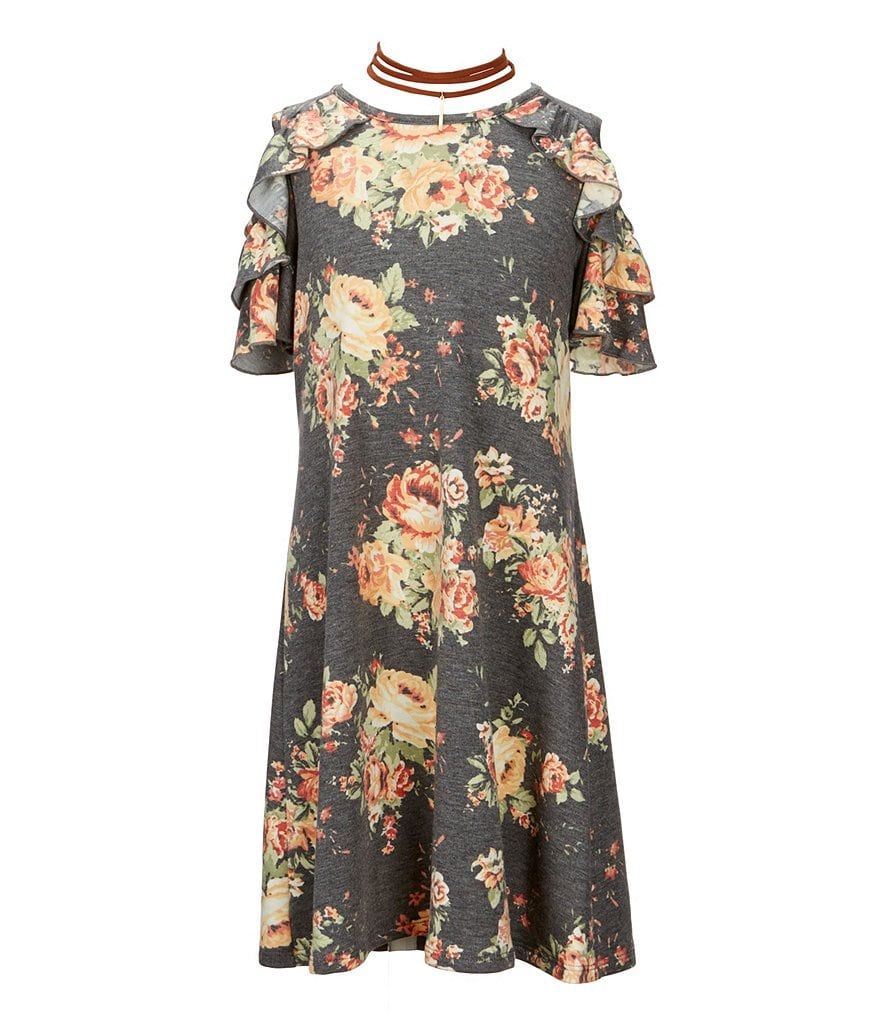 I.N. Girl Big Girls 7-16 Floral-Print Cold-Shoulder Dress