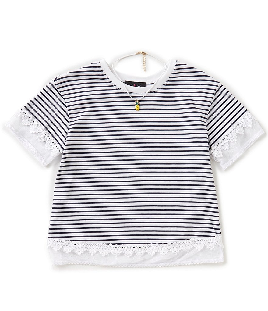 I.N. Girl Big Girls 7-16 Striped Short-Sleeve Top