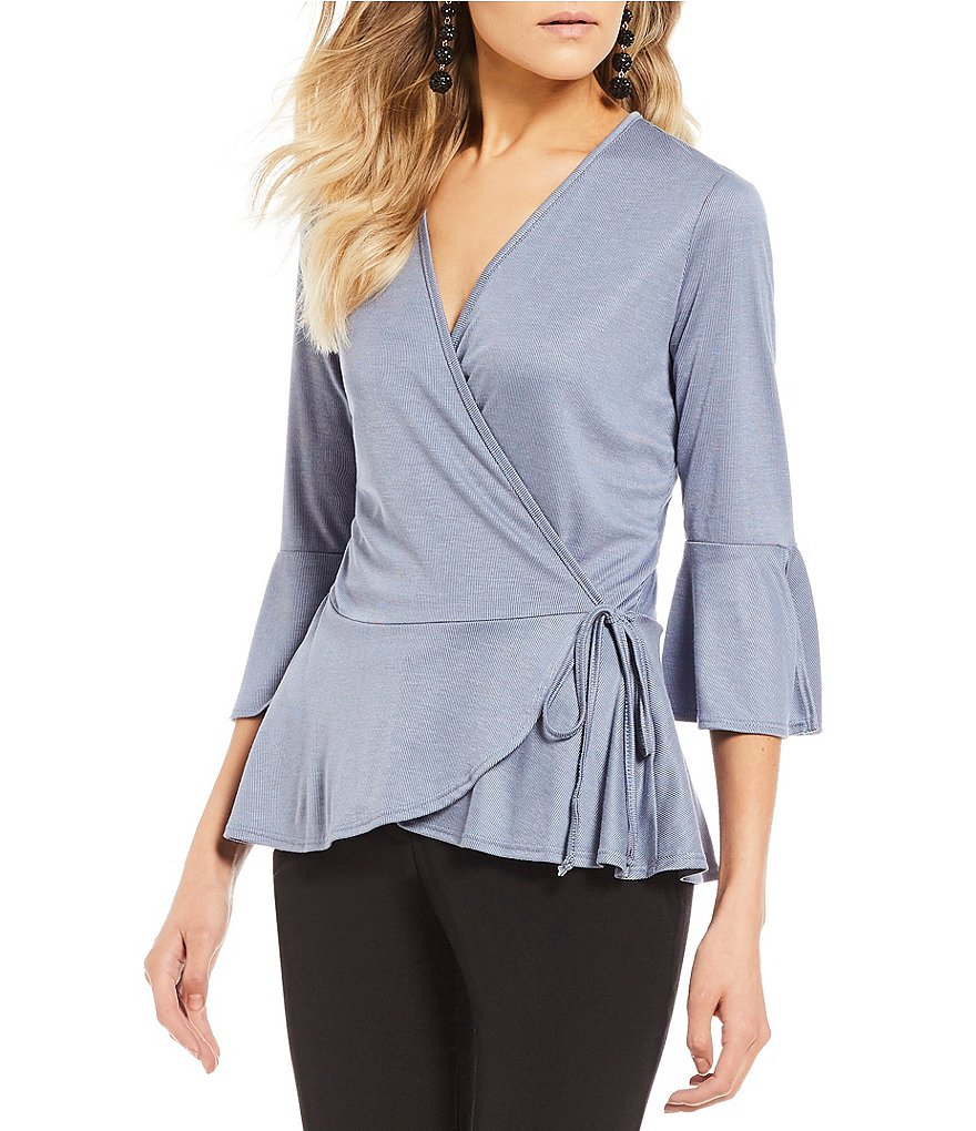 I.N. San Francisco Bell Sleeve Faux-Wrap Top
