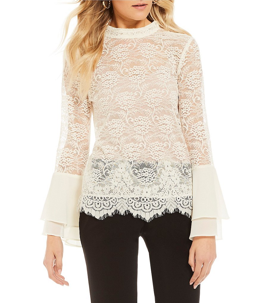 I.N. San Francisco Bell-Sleeve Lace Top