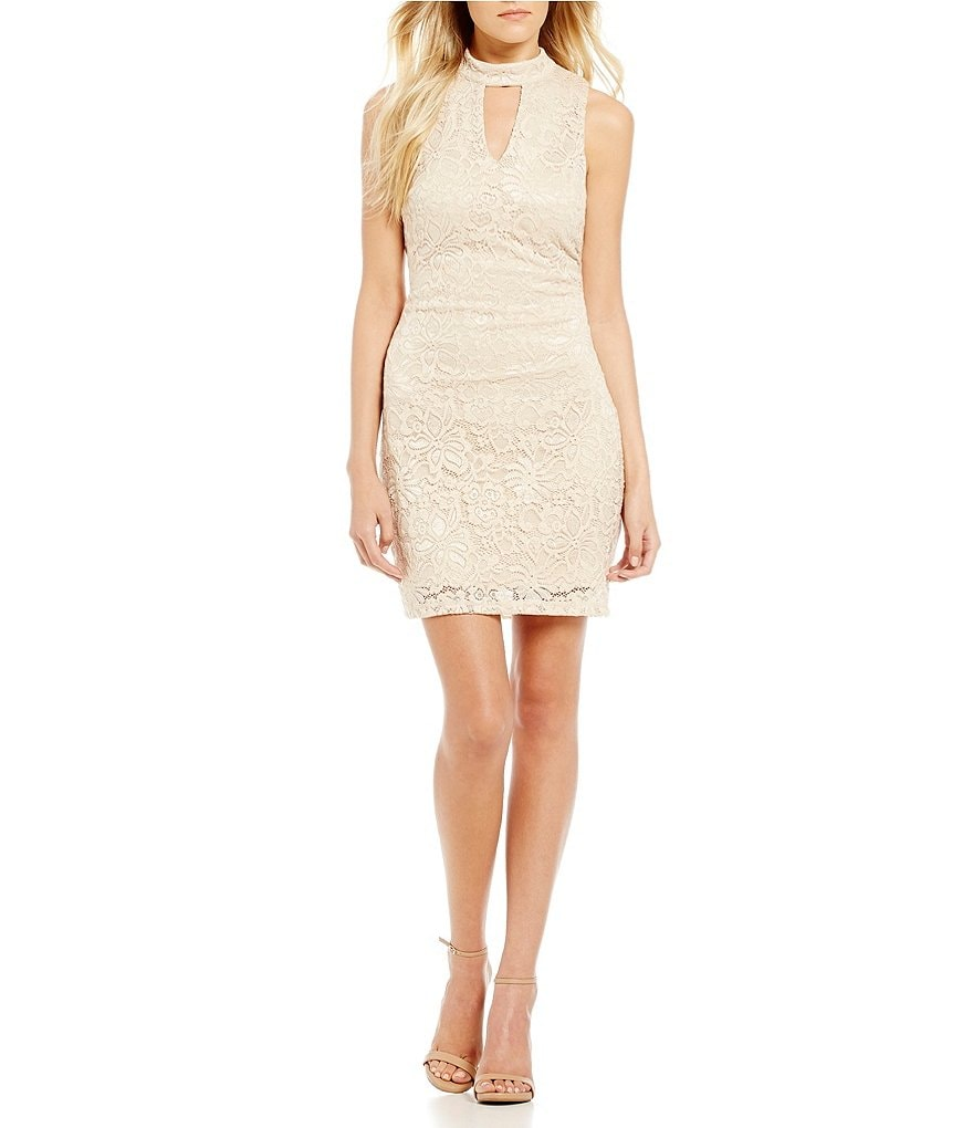 I.N. San Francisco Choker Neck Glitter Lace Sheath Dress