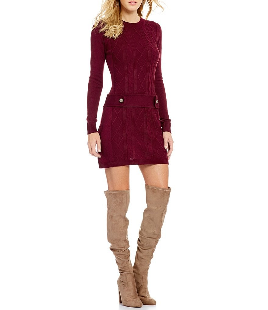I.N. San Francisco Drop Waist Cable-Knit Sweater Dress